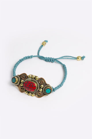 Lara - Teal Rope Bracelet With Statement Gold Tribal Pendant - detail 4