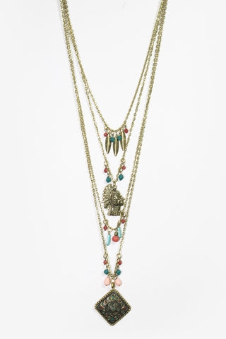 Levana - Gold Layered Tribal Pendant Necklace