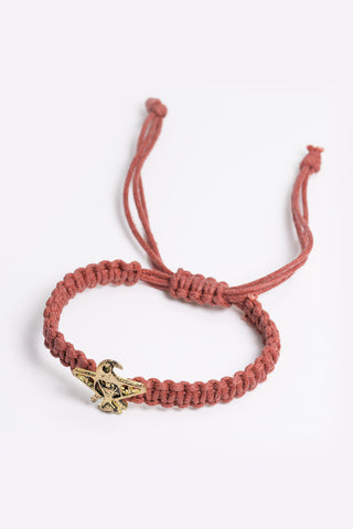 Lorelle - Red Rope Bracelet With Gold Plated Eagle Pendant 3/4 Image