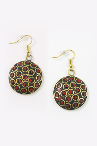 Loria - Round Matte Gold Earrings With Red Mosaic Detail Full Image