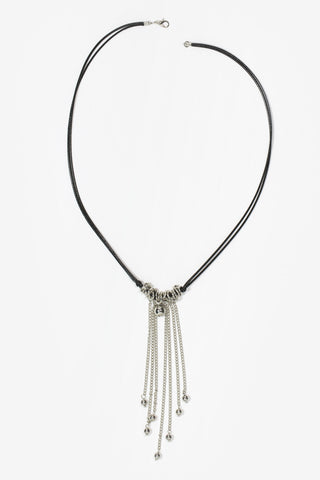 Lulu - Black & Silver Plated Tassel Drop Necklace