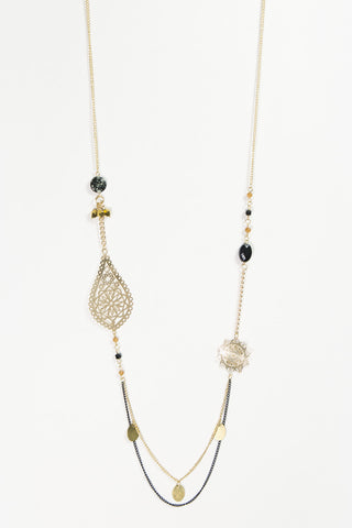 Madeleine - Black & Gold Plated Layered Beaded Necklace