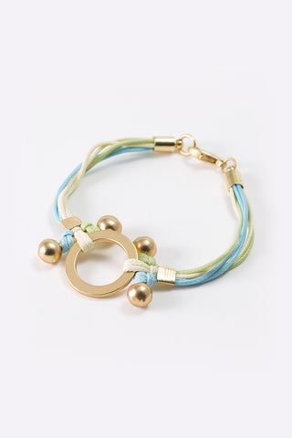 Maia - Gold Plated Pastel Coloured Rope Bracelet 3/4 Image