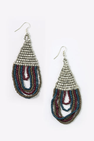 Mara - Beaded Half Moon Earrings Full Image