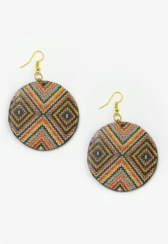 Mira - Round Red & Black Aztec Patterned Earrings Full Image