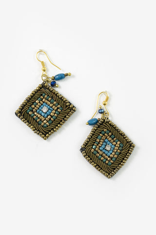 Moa - Turquoise & Matte Gold Beaded Diamond Earrings Full Image