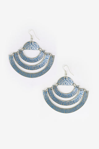 Nariva - Silver & Blue Leaf Detailed Three Band Earrings Full Image