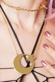 The Always and Forever Necklace - Blingistan, girl wearing gold plated necklace with pink nailpolish on fingers.