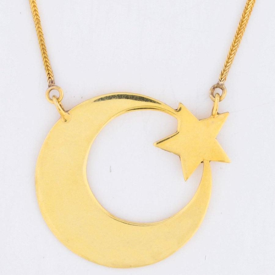 The Always and Forever Necklace - Blingistan, close up. Gold plated pendant on gold chain.