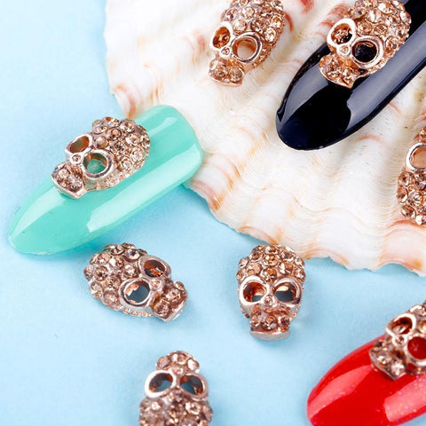 10 Pcs Manicure Rose Gold Alloy Rhinestones Skull For Nails - Badassnow