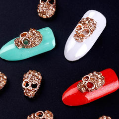 10 Pcs Manicure Rose Gold Alloy Rhinestones Skull For Nails