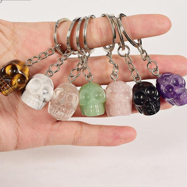 Amethyst Crystal Skull Stone Key Holder - Badassnow