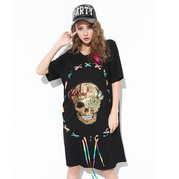 Cool Loose Cotton Skull with Sequined Patchwork - Badassnow