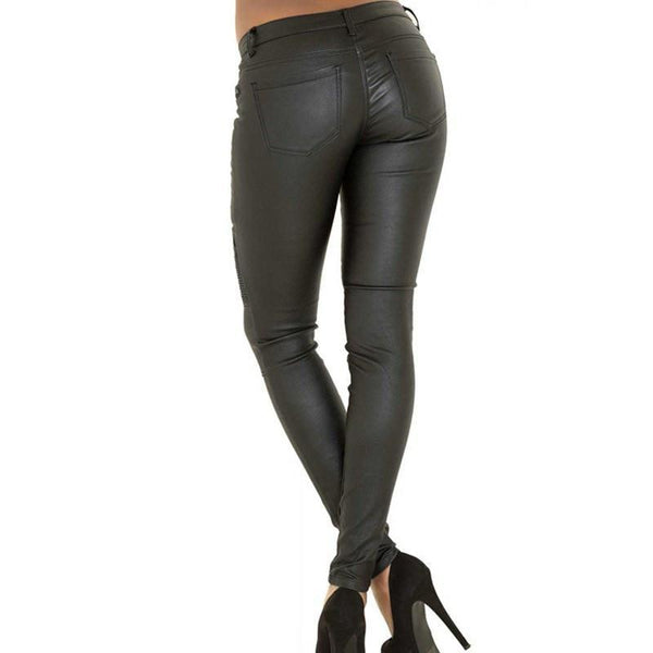 Sexy Faux Leather Black Pants
