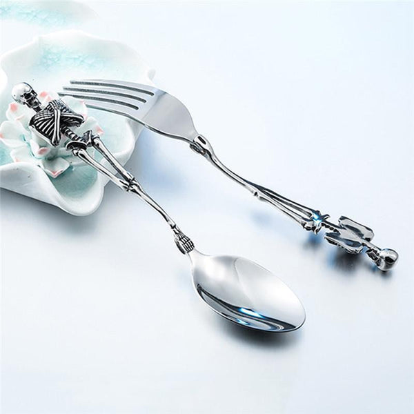Stainless Steel Skull Head Skeleton Tableware