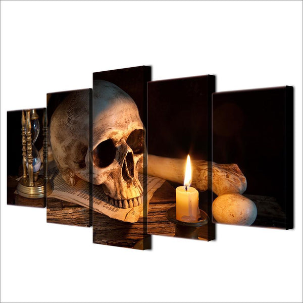 Scary Skull Burning Candle Canvas Art