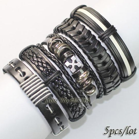 5pcs Punk Rock Bangles Genuine Leather Bracelet