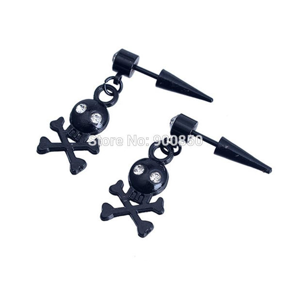 Skull Bat Punk Stainless Steel Stud Earrings
