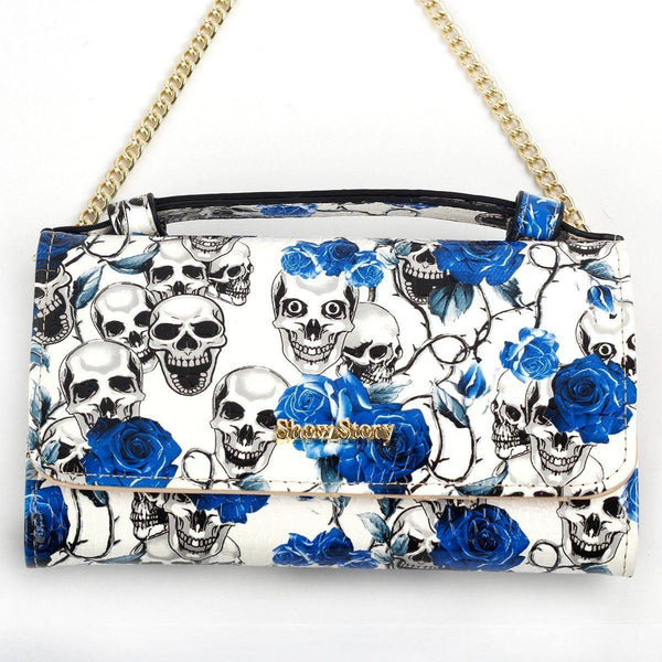 Women's Skull Purse Wallet Clutch Handbag