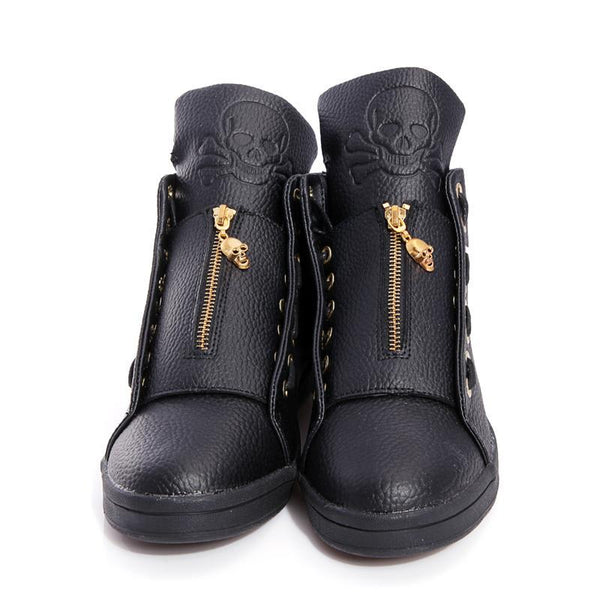 Skull Metal Zipper Loafers Boots