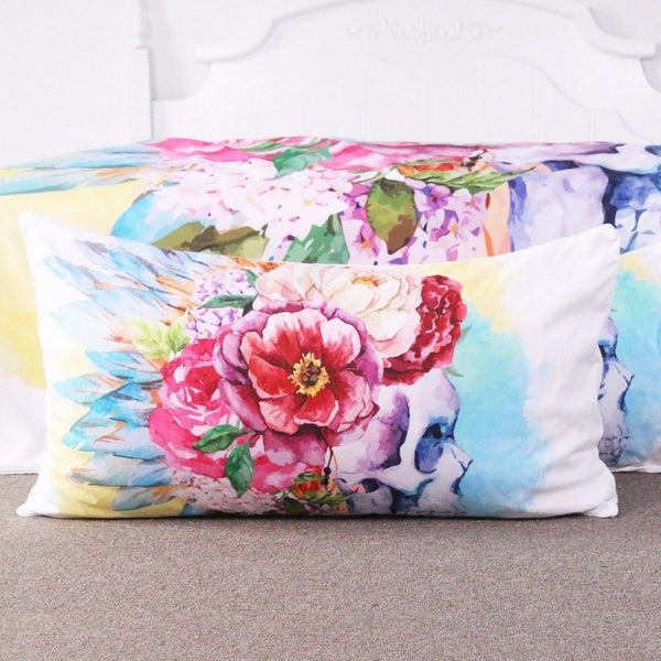 Colorful Skull and Floral Duvet Cover Set 4 Pieces