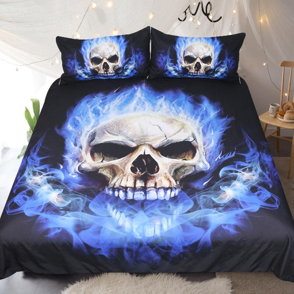 Blue Flame Skull Bedding Set - Badassnow