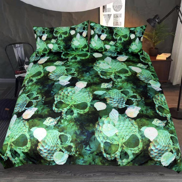 Green Marine Shells Duvet Cover