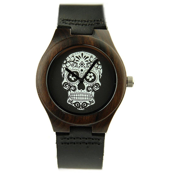 Black Wood Quartz Skull Wristwatch - Badassnow