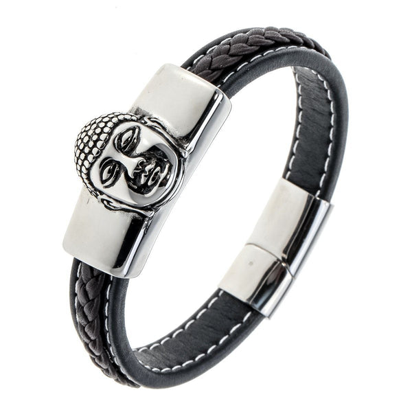Buddha Stainless Steel Leather Chain Bracelet - Badassnow
