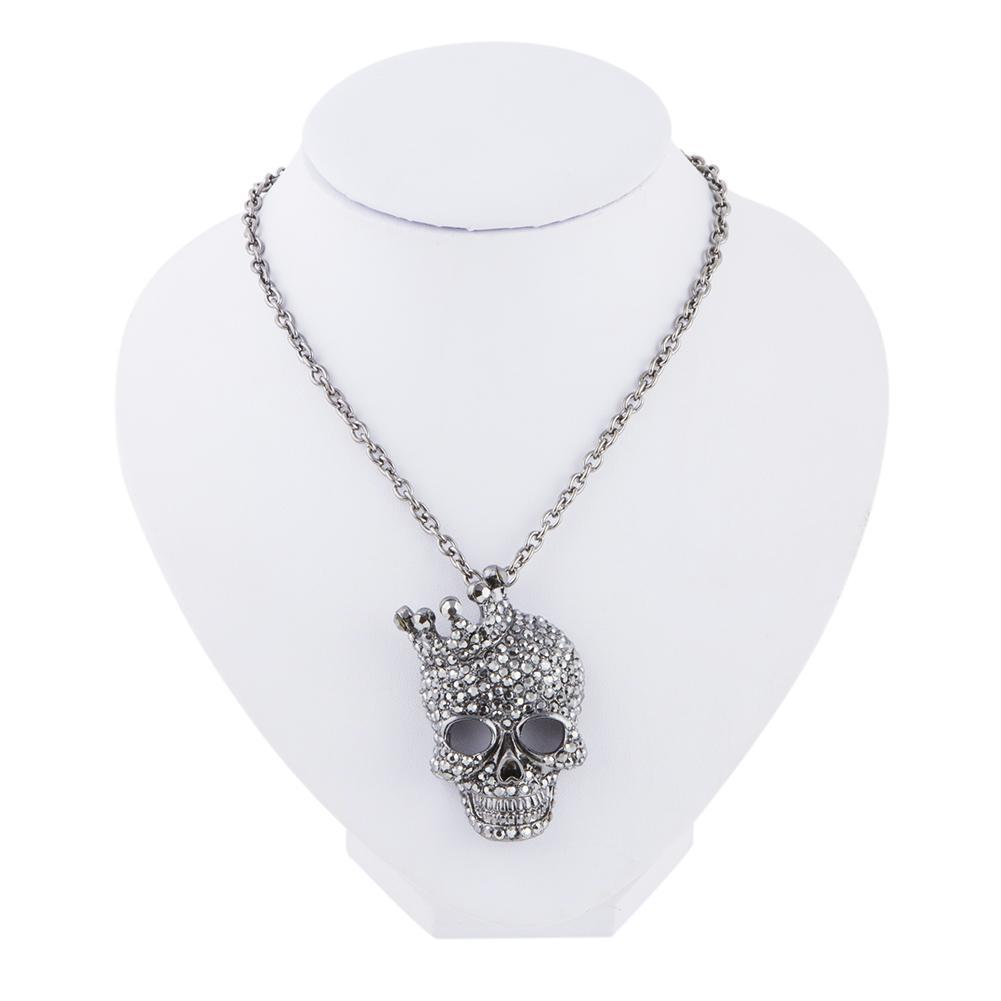 Crystal Rhinestone Skull Necklace