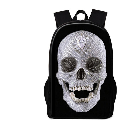Black Backpack White Skull Pattern - Badassnow