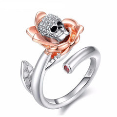 Elegant Skeleton Skull Ring
