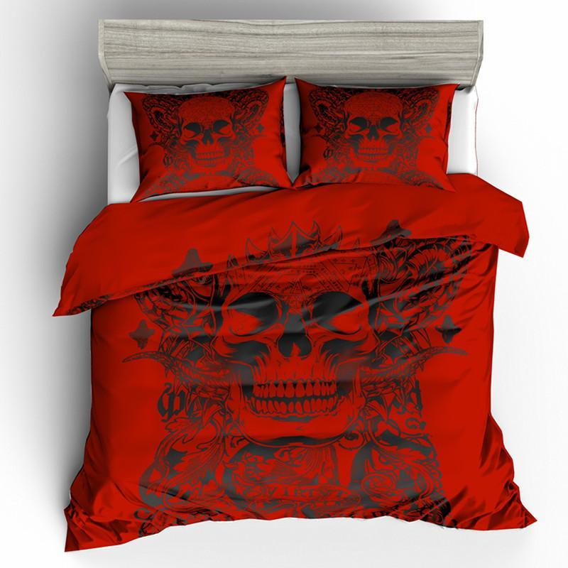 3D Red Sugar Skull Bedding Set - Badassnow
