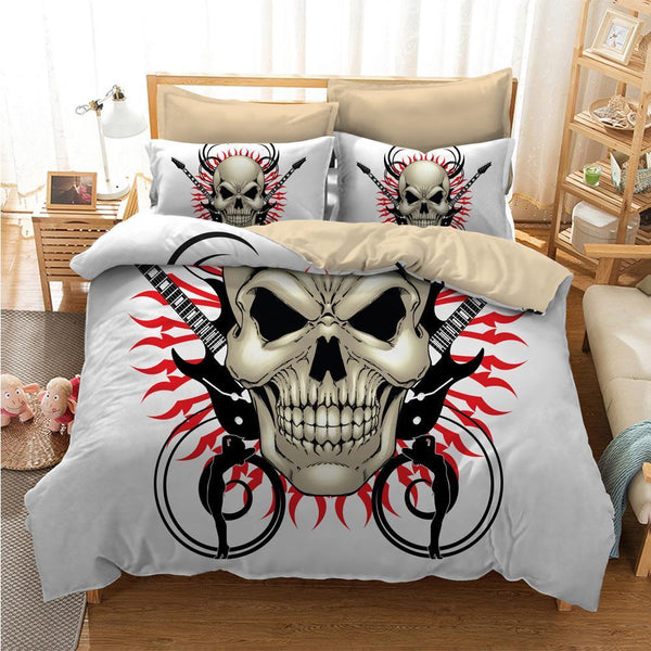 White Badass 3D Printed Skull Bedding Set