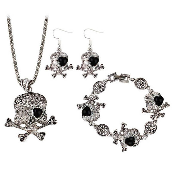 Antique Silver Skull Jewelry Set - Badassnow