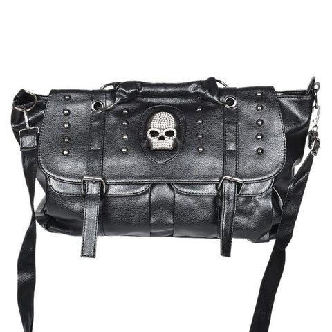 Leather Skull Rivet Black Handbag Tote