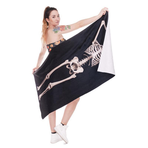 3D Digital Printed Human Skeleton Bath Towel