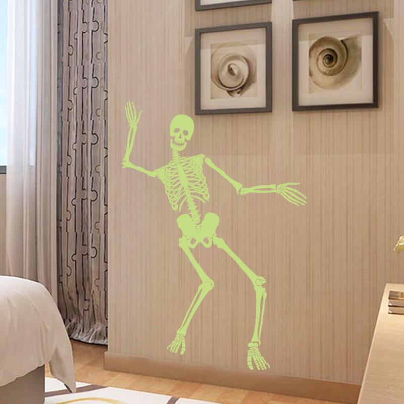 Glow in the Dark Skull Skeleton Decoration Wall Stickers