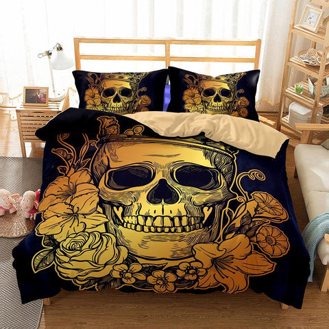 3D Bedding Set Skull Print Duvet Cover Set - Badassnow
