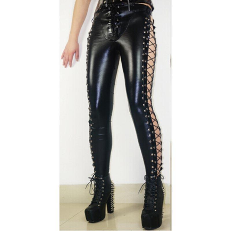 Gothic Black Sexy Side Pants