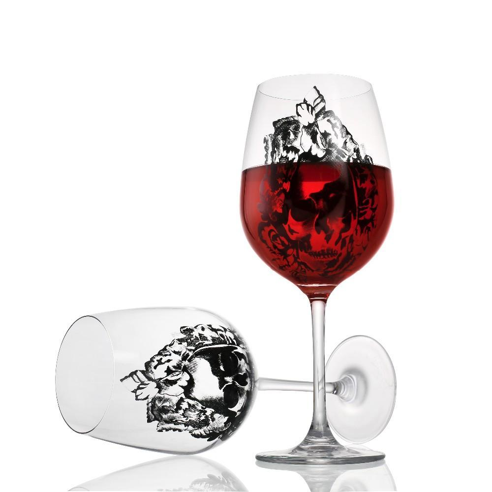 Crystal Wine Glass With Diamond Skull - Badassnow