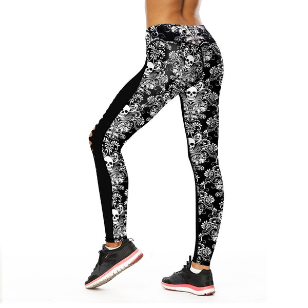 Skull Printed Hollow Yoga Legging