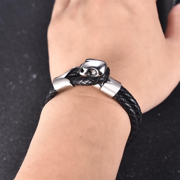 Double Rope Chain Stainless Steel Skull Bangle