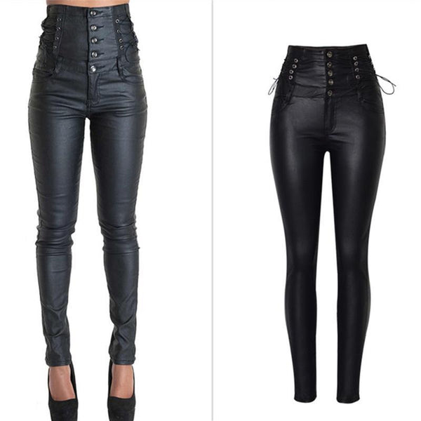 High Waist Sexy Faux Leather Trousers