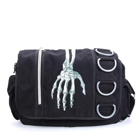 Skeleton Hand Shoulder School Work Bag