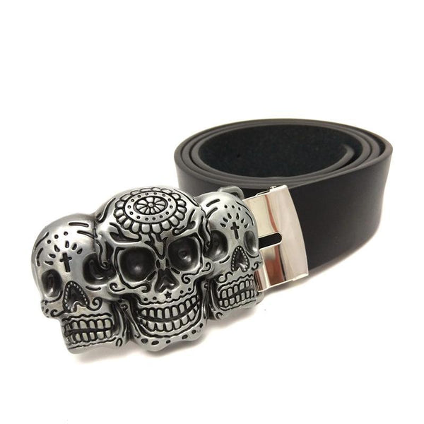Skull Black PU Leather Belt