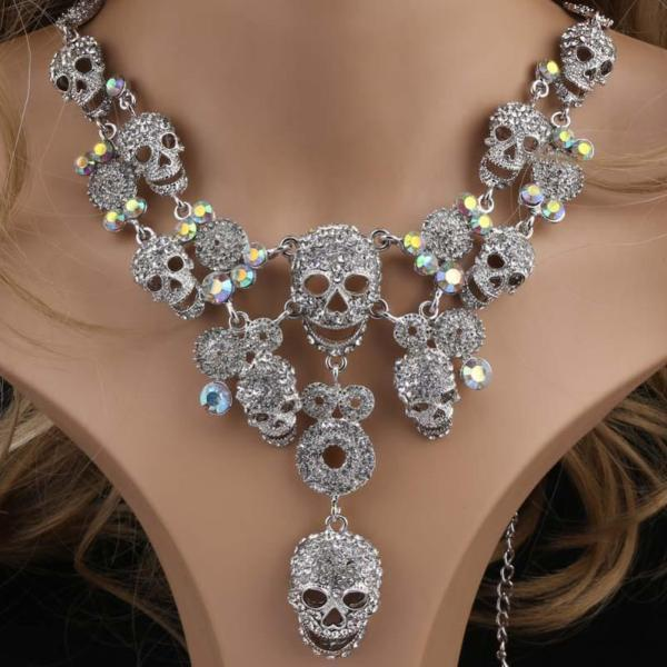 Metal Skull Pendant Crystal Chokers