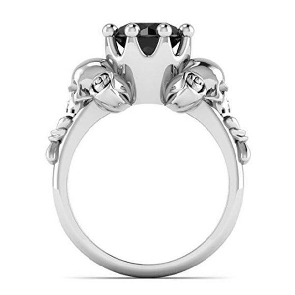 Skull Ring Charms Black Zircon Ring