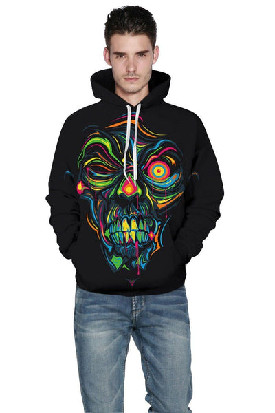 Black Tattoo 3D Skull Hoodies - Badassnow
