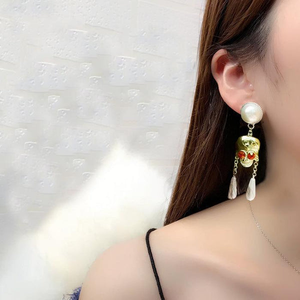 Skull Pearl Earrings